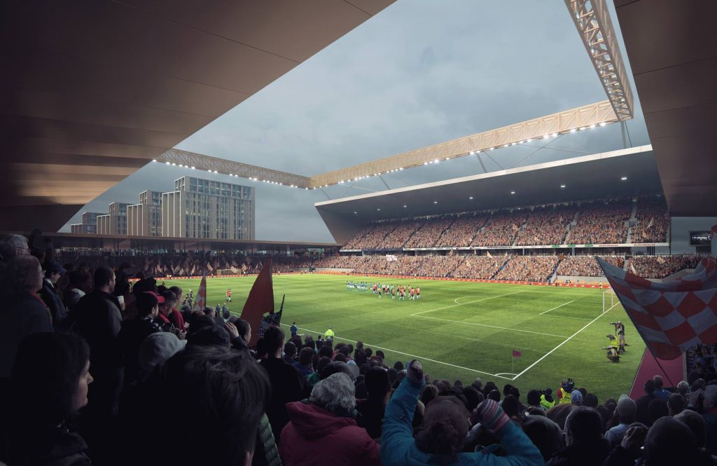 An artist's impression of Luton Town's new football stadium, which is planned as part of the Power Court development