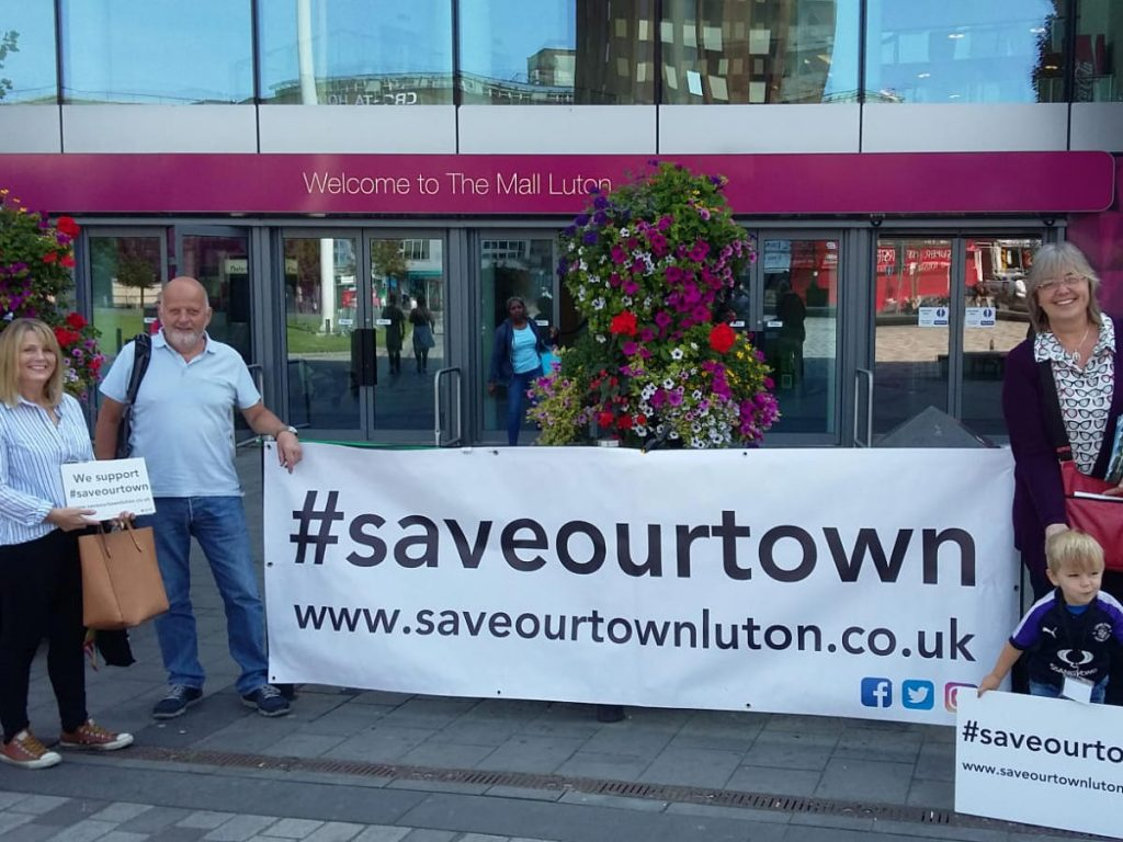 #saveourtown members during a public engagement event outside The Mall, Luton