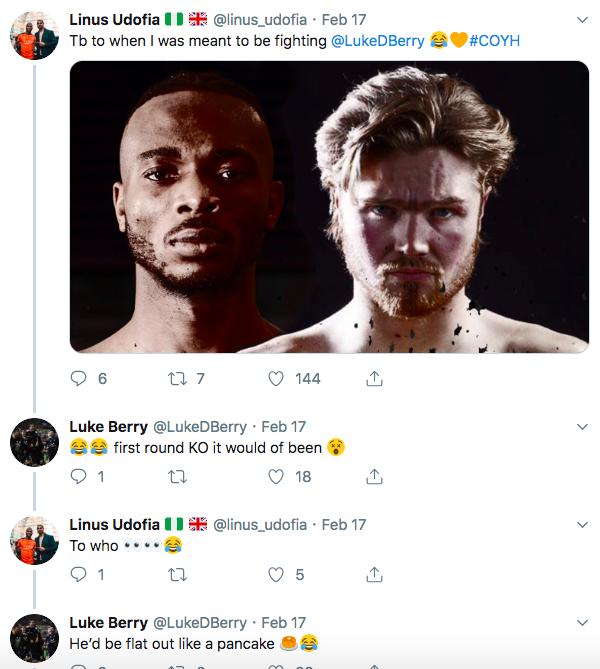 Linus Udofia v Tey Lynn Jones, or is it Luke Berry?