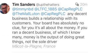 Tim Sanders tweet about Capital & Regional
