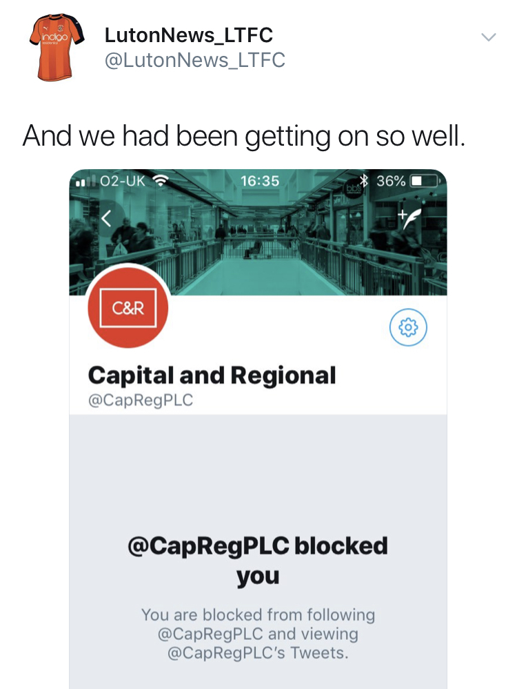 Luton News Sports Editor Mike Simmonds tweet about being blocked by Capital & Regional
