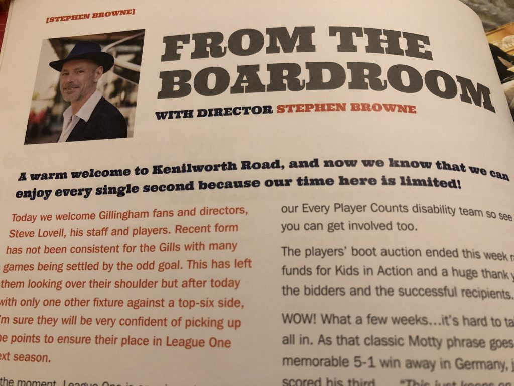 Stephen Browne's From the Boardroom column in the Luton v Gillingham match day programme