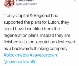 Dave Finnan's tweet about Capital & Regional