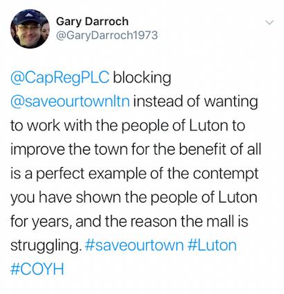Gary Darroch's tweet about Capital & Regional