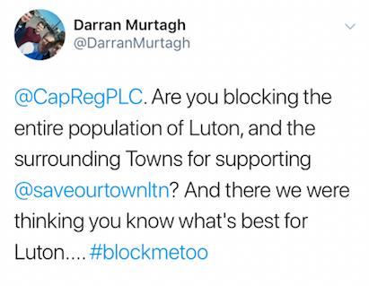 Darran Murtagh's tweet about Capital & Regional