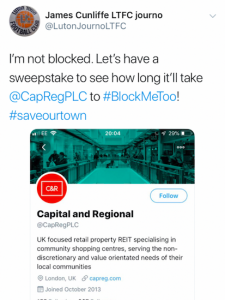 James Cunliffe's tweet about Capital & Regional