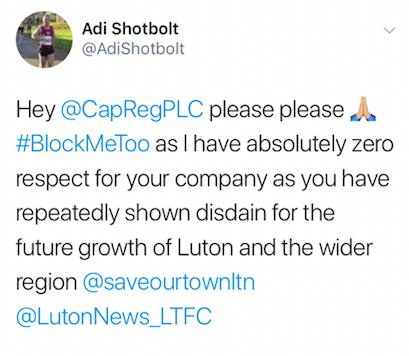 Adi Shotbolt's tweet about Capital & Regional