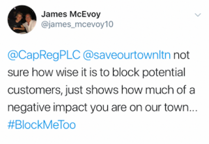 James McEvoy's tweet about Capital & Regional