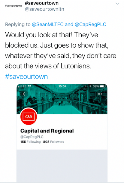 #saveourtown's tweet about being blocked by Capital & Regional
