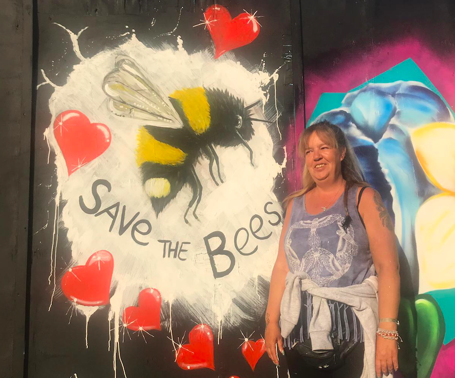 Sharon Mitchell's Save the Bees artwork for Power in Paint