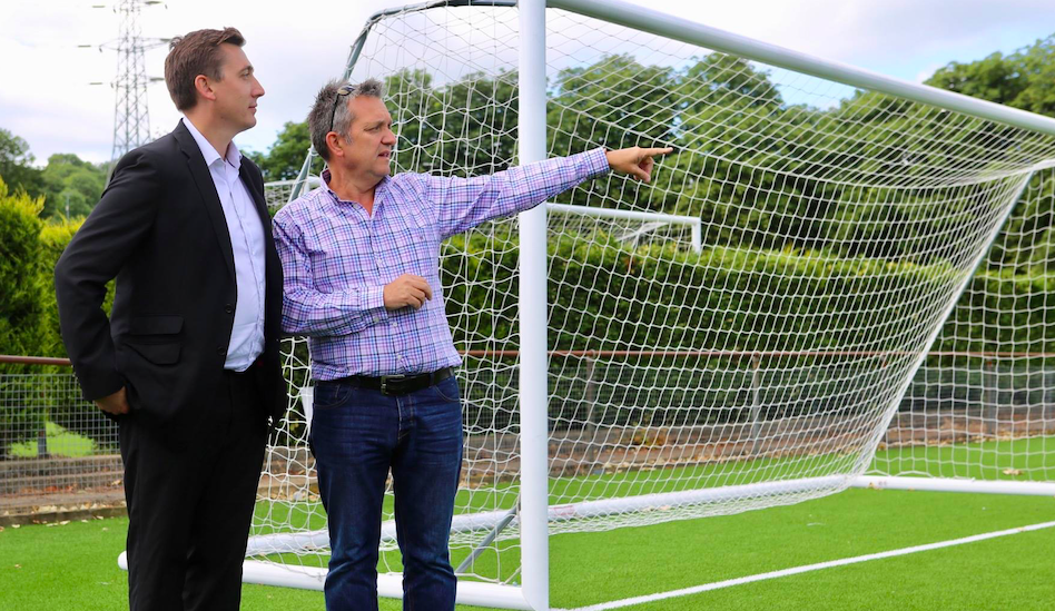 Gavin Shuker (left) talks with Luton Town FC chief executive Gary Sweet
