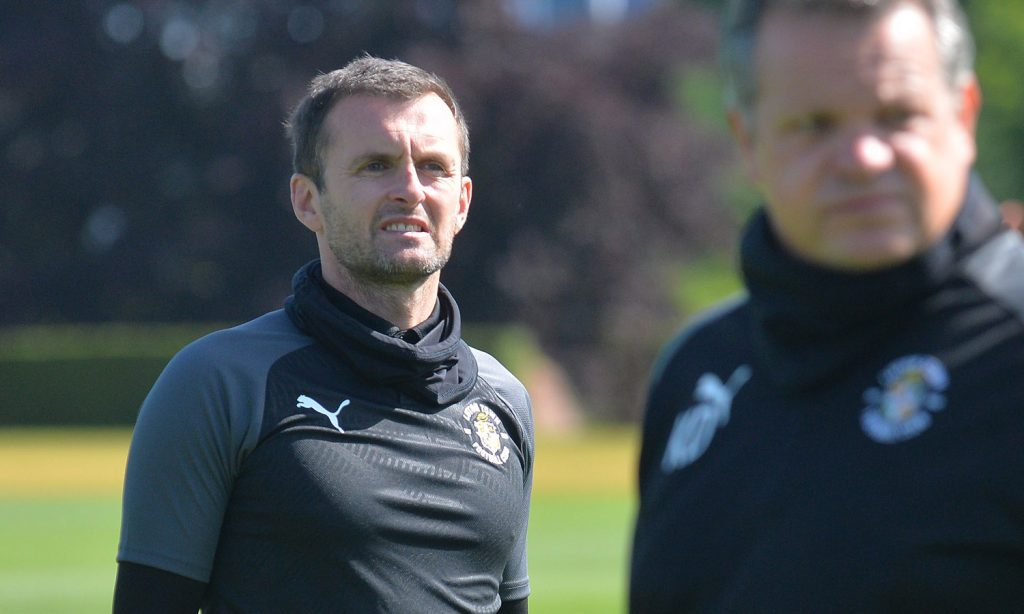 Nathan Jones on his first training session after return to Luton for a second spell as manager