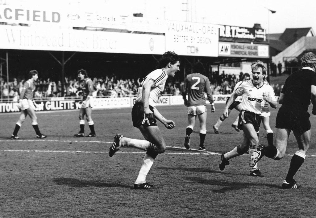 Mick Harford celebrates a goal