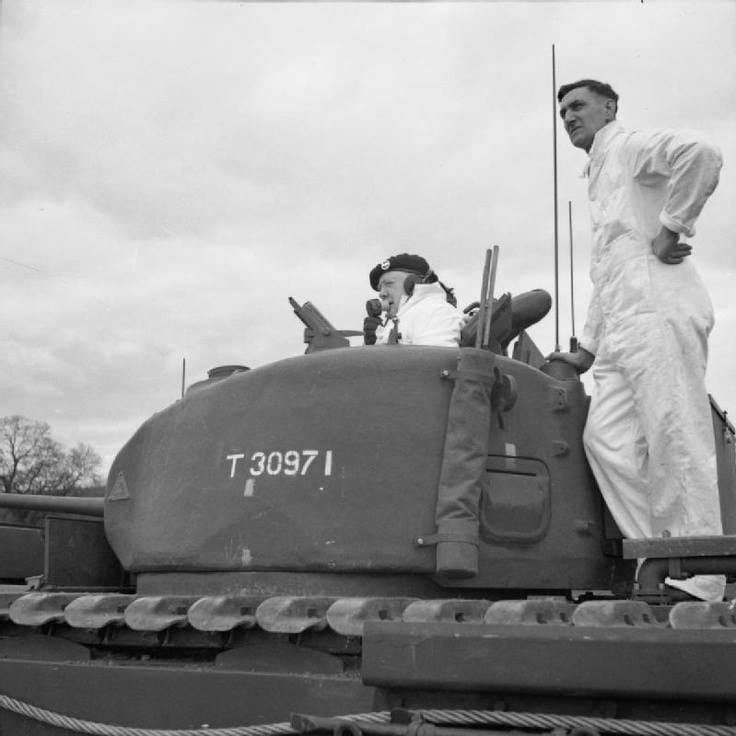 Tom Adair on a Churchill tank